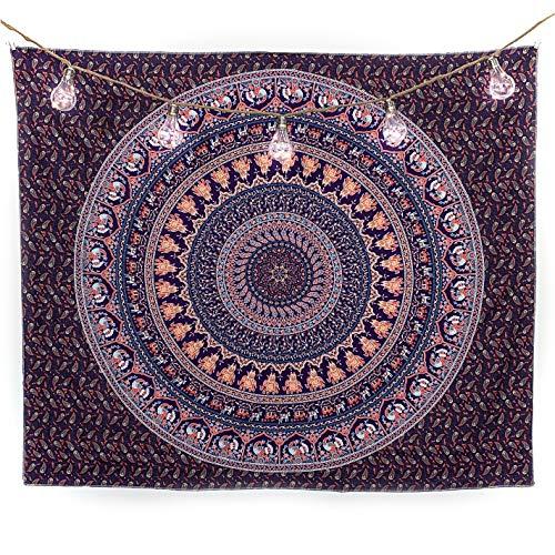 BabeeyHome Wandteppich Mandala   Indisches Psychedelic Wandtuch   Wanddeko Schlafzimmer   130x150 cm   Orientalische Boho Deko   Indische Wandbehang Decke   Inklusive Wandhacken (Lila-Mint-Orange)