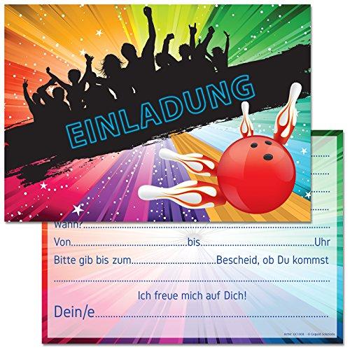 Gepard Solutions 12 Einladungskarten zum Geburtstag / Kindergeburtstag / Party mit Motiv Bowling / Kegeln (Mit Einladungstext)