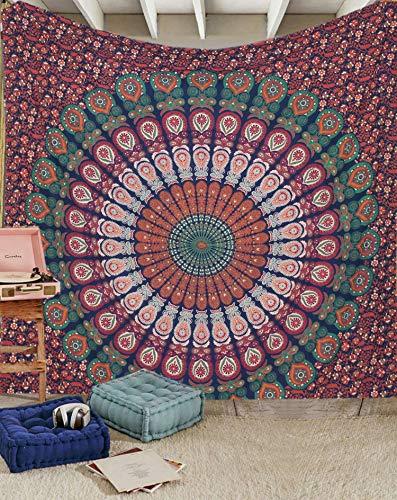 Raajsee Hippie Mandala Wandbehang blau orange indische Baumwolle Wandteppich /Boho Blue Tapisserie Queen 210x220 cms