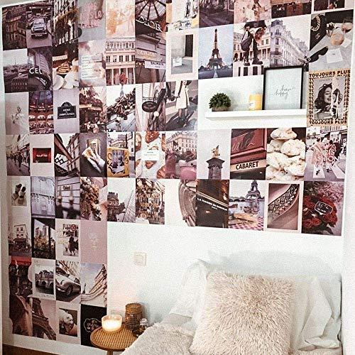 Flamingueo Fotowand - 100 Bilder Set, Wandbild, Wand Dekoration, Schlafzimmer Deko, Poster Set, Bilder Collagen, Wanddeko, Wandsticker, Deko Teenager Mädchen Zimmer, Room Decor, Aesthetic Deko (Paris)