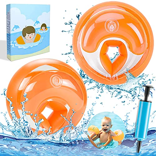ECtury Schwimmflügel Kinder, Schwimmhilfe für Anfänger, Schwimmring für 1-4 Jahre Jungen Mädchen Babys, Kinder Pool Swimsafe Gerät, Schwimmreifen Armumfang 21-23cm, Empfohlenes Gewicht 6-20kg (Orange)