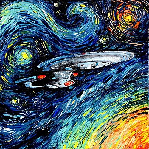 72Tdfc 5D DIY Diamant Full Malerei Leinwand Strass Malerei Stickerei Bilder Kunst Handwerk Diamant Painting Full Kits - Star Trek Filmplakat - Für Haus Wand Dekor 60 X 40 cm