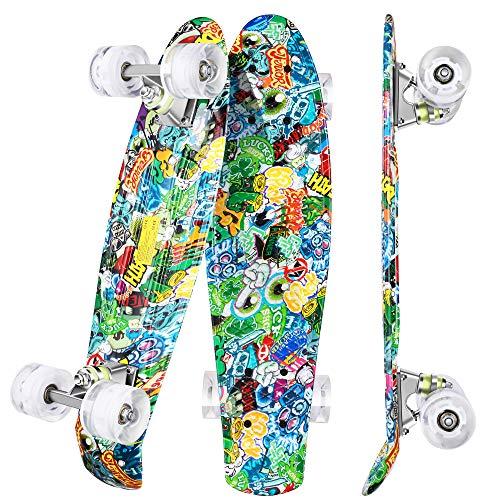 WeSkate Mini Cruiser Skateboard Retro Vollbrett 22