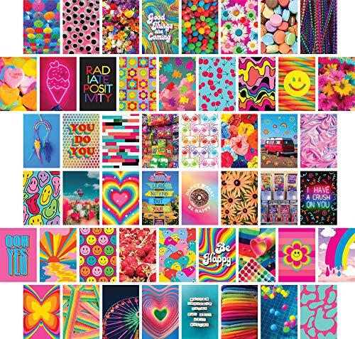 ARTIVO Indie Wall Collage Kit Ästhetische Bilder 50 Set 10 x 15 cm, bunte Kidcore Wanddekoration für Teenager-Mädchen, College Schlafsaal Poster, Trippy Room Decor Foto Sammlung