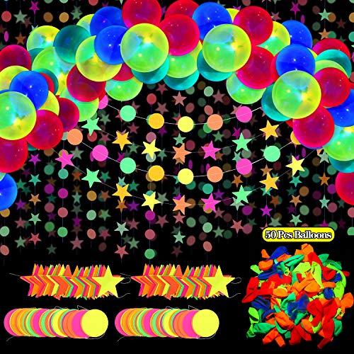 54 Stück Leuchtend Party Zubehör, inklusive 57,8 Fuß Schwarzlicht Neon Stern und Kreis Punkten Papier Girlande Banner Hängende Dekorationen, 50 Stück 10 Zoll Reaktive Fluoreszierende Neon Ballons