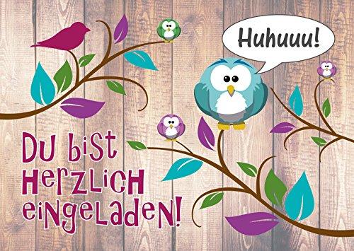 JamOnMedia 6-er Kartenset mit niedlichem, lustigem Uhu- BZW. Eulen-Motiv, Kindergeburtstag-Einladungskarten für die Geburtstags-Party
