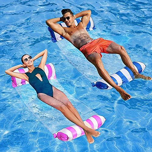 kunst für alle Aufblasbares Schwimmbett Schwimmende Reihe Wasservergnügen Lounge Chair Wasser Aufblasbares Schwimmbett Sofa Wasserbett Lounge Chairs Klappbare Rückenlehne (rosa+darkblue)