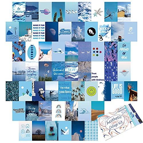 60-teiliges Wand-Collage-Set, ästhetische Raumdekoration für Schlafzimmer, blaue Foto-Kunst-Bilder, Collagen-Kit für Teenager Mädchen und Frauen, 10,2 x 15,2 cm Fotosammlung