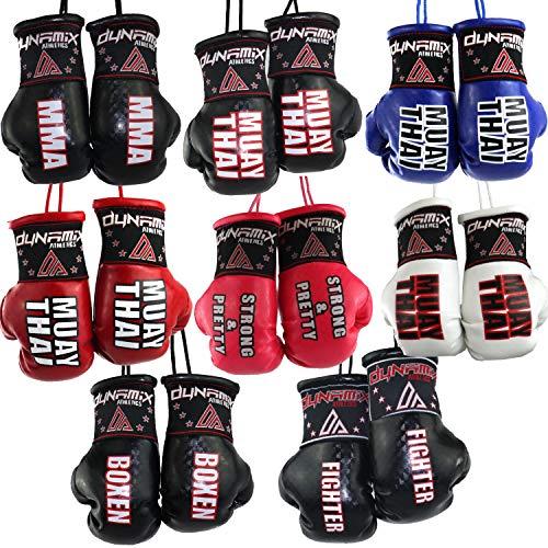 Dynamix Athletics Autospiegel Mini Boxhandschuhe - Boxhandschuhe fürs Auto Spiegelanhänger Spiegel Aufhänger PKW Innenspiegel - 8 Varianten Boxen MMA Muay Thai Fighter (Muay Thai - Blau)
