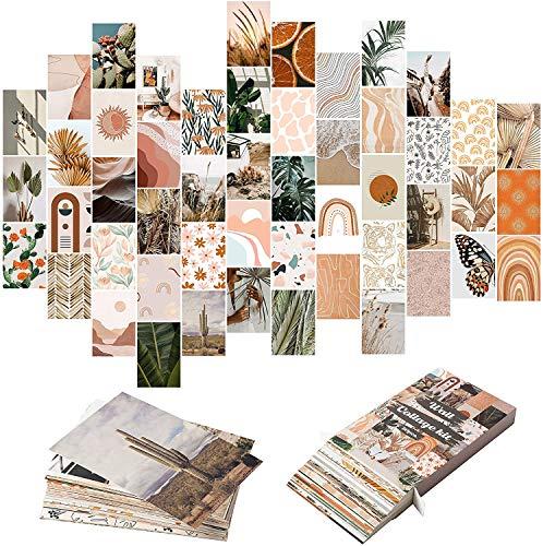 BeYumi 50 Stück Boho Aesthetic Pictures Wandcollage-Kit, Pfirsich Petrol Fotosammlung Wohnheim Dekor für Mädchen Teenager, Orange Boho Wanddruck-Kit kleine Poster für Raum Schlafzimmer