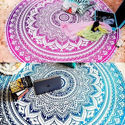 Folkulture Satz von 2 Ombre Mandala Runde Tapisserie Hippie indische Roundie Picknick Spread Boho Zigeuner Baumwolle Tischdecke Strandtuch Meditation Yoga-Matte - 72x70 Zoll Durchmesser Blau und Rosa